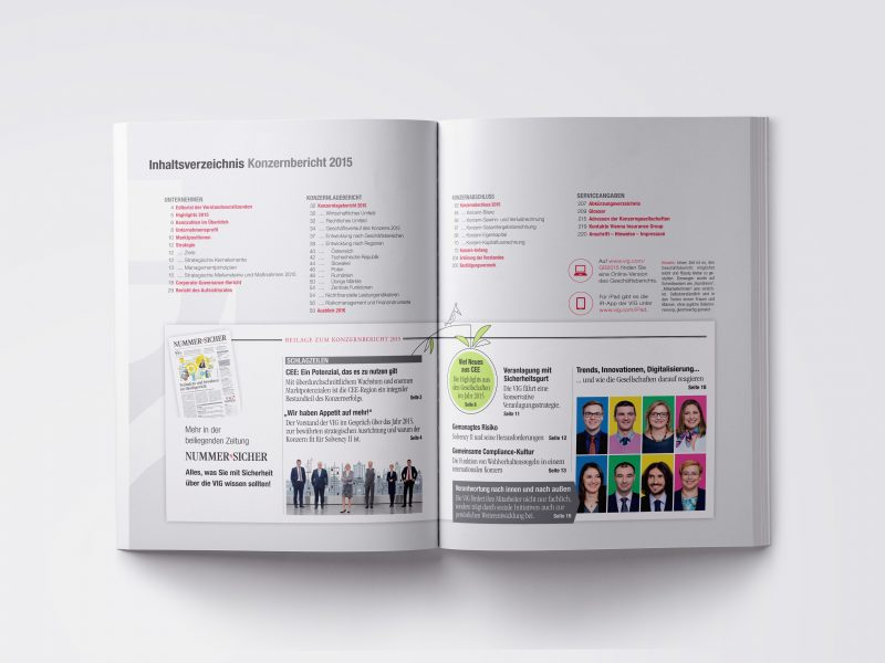 VIG Geschäftsbericht 2015 Inhaltsverzeichnis