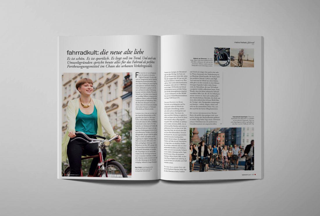 "Wüstenrot Kundenmagazin ""mein leben"" Fahrradkultur"