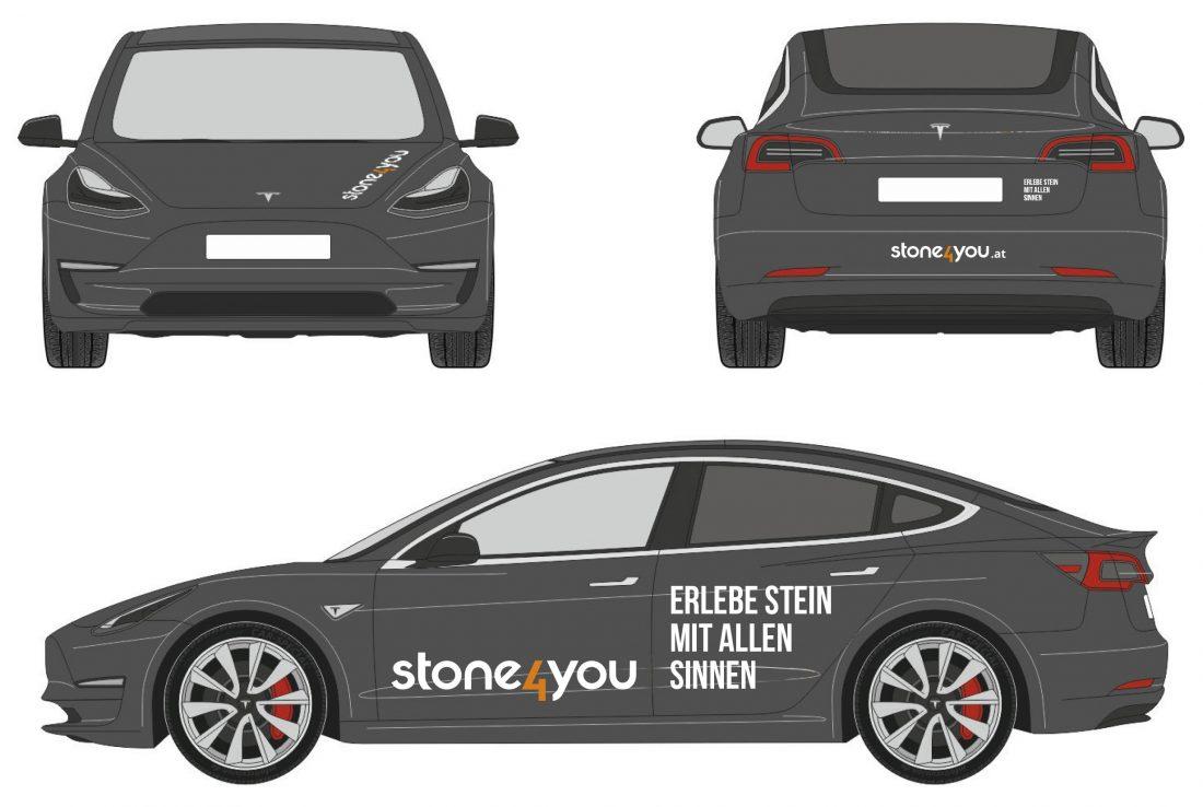 stone4you Autobeklebung Tesla3